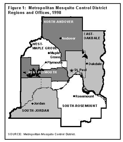 Figure 1: Metropolitan Mosquito Control District Regions and Offices Map