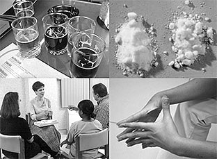 Image of glasses of alcohol, drug powder, counseling group and hands